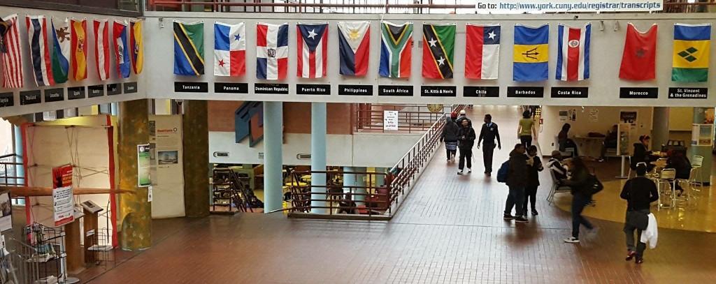 Multiple national flags at York College's atrium